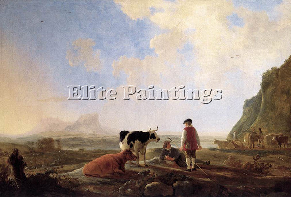 AELBERT CUYP HERDSMEN WITH COWS ARTIST PAINTING REPRODUCTION HANDMADE OIL CANVAS