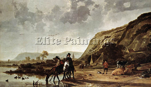 AELBERT CUYP LARGE RIVER LANDSCAPE WITH HORSEMEN ARTIST PAINTING HANDMADE CANVAS