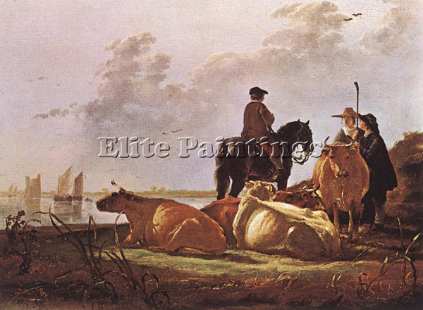 AELBERT CUYP PEASANTS WITH FOUR COWS BY THE RIVER MERWEDE ARTIST PAINTING CANVAS