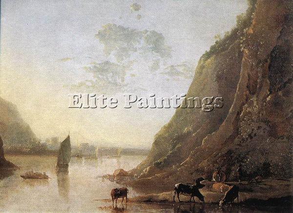 AELBERT CUYP RIVER BANK WITH COWS ARTIST PAINTING REPRODUCTION HANDMADE OIL DECO