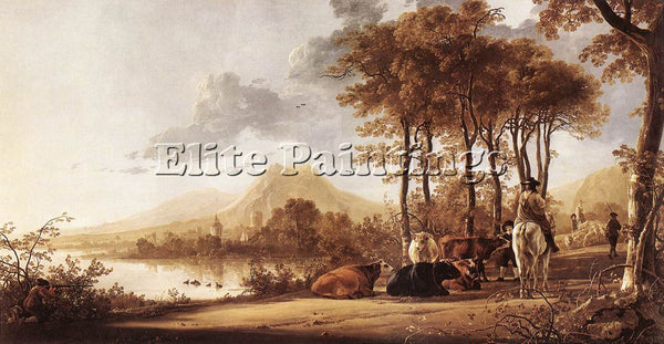 AELBERT CUYP RIVER LANDSCAPE ARTIST PAINTING REPRODUCTION HANDMADE CANVAS REPRO