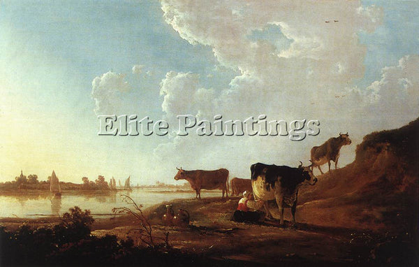 AELBERT CUYP RIVER SCENE WITH MILKING WOMAN ARTIST PAINTING HANDMADE OIL CANVAS