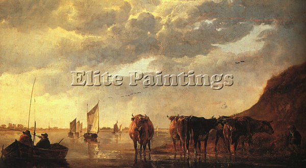 AELBERT CUYP HERDSMAN WITH COWS BY A RIVER ARTIST PAINTING REPRODUCTION HANDMADE