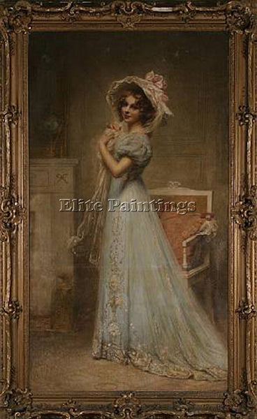 FRENCH CABANE EDOUARD LADY IN BLUE ARTIST PAINTING REPRODUCTION HANDMADE OIL ART