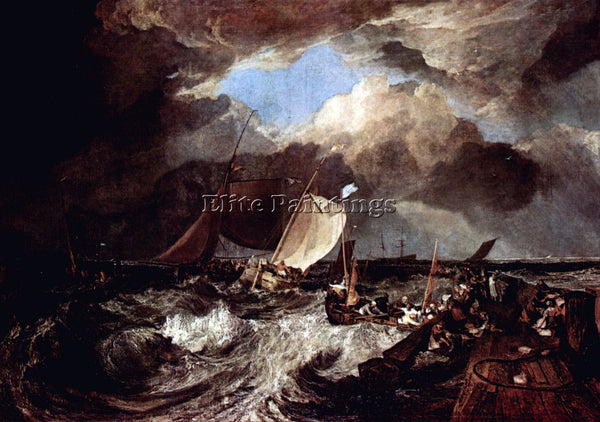WILLIAM TURNER CALAIS PIER BY TURNER ARTIST PAINTING REPRODUCTION HANDMADE OIL