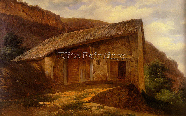 SWISS CALAME ALEXANDRE A FARM HOUSE ON THE SIDE OF A MOUNTAIN PAINTING HANDMADE