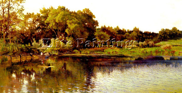 SWISS CALAME ALEXANDRE BORD DU LAC ARTIST PAINTING REPRODUCTION HANDMADE OIL ART