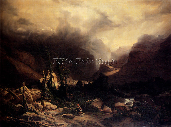 SWISS CALAME ALEXANDRE L EBOULEMENT ARTIST PAINTING REPRODUCTION HANDMADE OIL