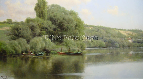 EMILIO SANCHEZ-PERRIER CALM WATERS AT CHAPONVAL ARTIST PAINTING REPRODUCTION OIL