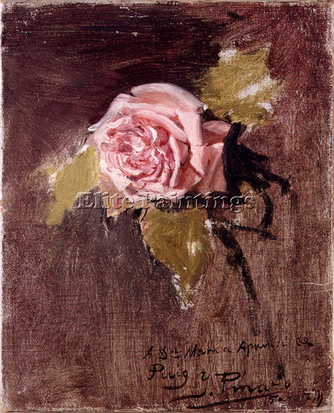 IGNACIO PINAZO CAMARLENCH UNA ROSA ARTIST PAINTING REPRODUCTION HANDMADE OIL ART