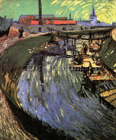 VAN GOGH CANAL WITH WOMEN WASHING ARTIST PAINTING REPRODUCTION HANDMADE OIL DECO