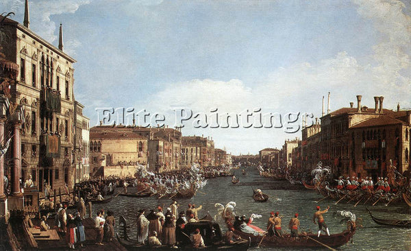 CANALETTO  REGATTA ON THE GRAND CANAL ARTIST PAINTING REPRODUCTION HANDMADE OIL