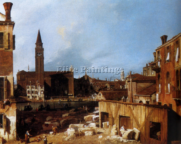 CANALETTO  STONEMASONS YARD ARTIST PAINTING REPRODUCTION HANDMADE OIL CANVAS ART