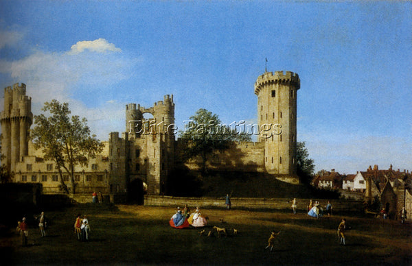CANALETTO  THE EASTERN FACADE OF WARWICK CASTLE ARTIST PAINTING REPRODUCTION OIL