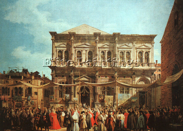 CANALETTO  THE FEAST DAY OF ST ROCH ARTIST PAINTING REPRODUCTION HANDMADE OIL