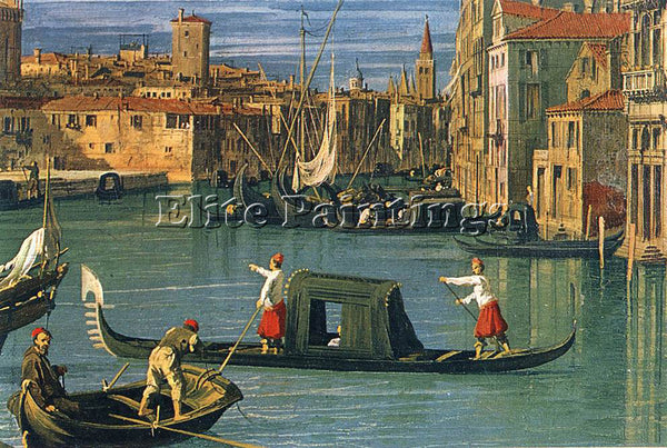 CANALETTO  THE GRAND CANAL AND THE CHURCH OF THE SALUTE DETAIL PAINTING HANDMADE