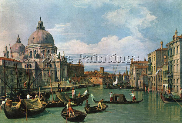 CANALETTO  THE GRAND CANAL AND THE CHURCH OF THE SALUTE ARTIST PAINTING HANDMADE