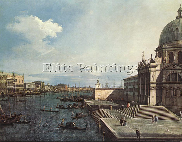 CANALETTO  THE GRAND CANAL AT THE SALUTE CHURCH ARTIST PAINTING REPRODUCTION OIL
