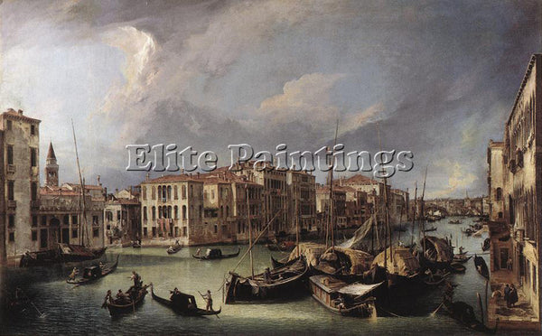 CANALETTO  THE GRAND CANAL WITH THE RIALTO BRIDGE IN THE BACKGROUND PAINTING OIL