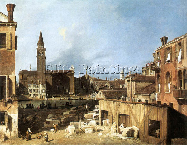 CANALETTO  THE STONEMASON S YARD ARTIST PAINTING REPRODUCTION HANDMADE OIL REPRO