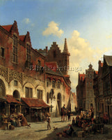 BELGIAN CARABAIN JACQUES MORNING IN A BUSY MARKET ARTIST PAINTING REPRODUCTION