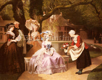 FRENCH CARAUD JOSEPH MARIE ANTOINETTE AND LOUIS XVI IN THE GARDEN ARTIST CANVAS