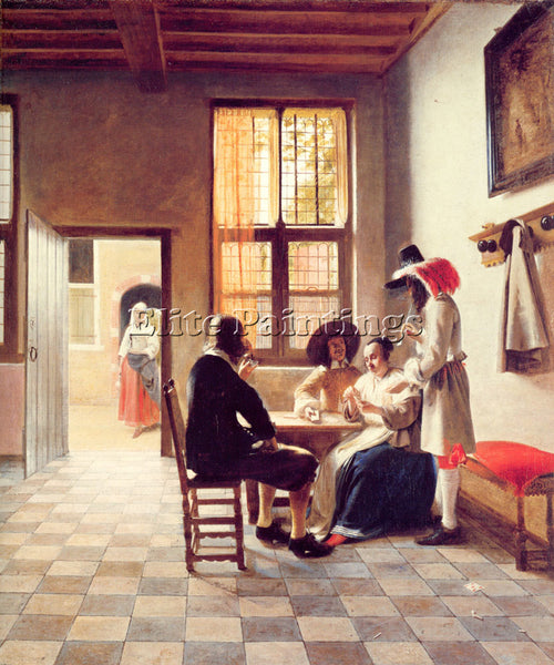 PIETER DE HOOCH CARD PLAYERS IN A SUNLIT ROOM ARTIST PAINTING REPRODUCTION OIL