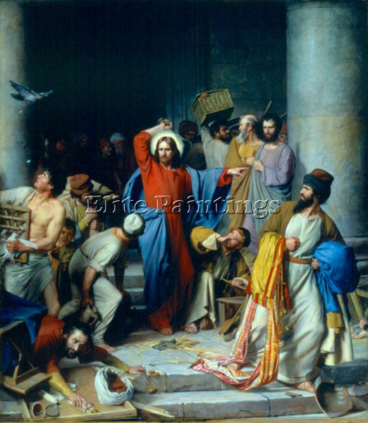 DENMARK CARL HEINRICH BLOCH CASTING OUT THE MONEY CHANGERS ARTIST PAINTING REPRO