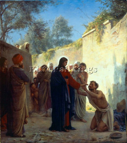 DENMARK CARL HEINRICH BLOCH CHRIST HEALING ARTIST PAINTING REPRODUCTION HANDMADE