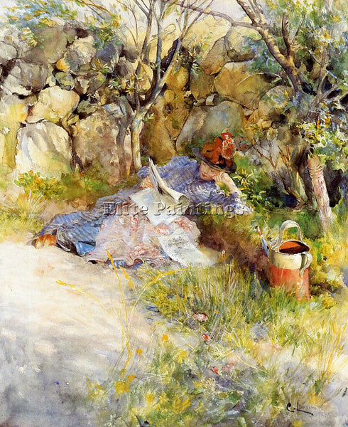 CARL LARSSON A LADY READING A NEWSPAPER ARTIST PAINTING REPRODUCTION HANDMADE