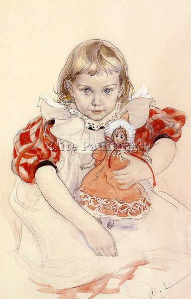 CARL LARSSON A YOUNG GIRL WITH A DOLL ARTIST PAINTING REPRODUCTION HANDMADE OIL
