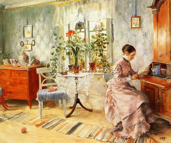 CARL LARSSON AN INTERIOR WITH A WOMAN READING ARTIST PAINTING REPRODUCTION OIL