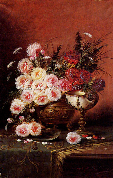 BELGIAN CARLIER MAX STILL LIFE ROSES AND NAUTILUS CUP ON DRAPED TABLE ARTIST OIL