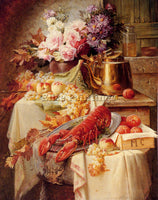 CARLIER MAX STILL LIFE WITH LOBSTER AND ASSORTED FRUIT AND FLOWERS REPRODUCTION