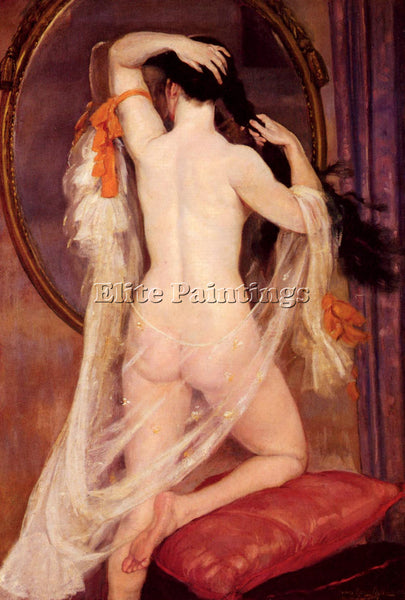 HENRY CARO-DELVAILLE NU AU MIROIR ARTIST PAINTING REPRODUCTION HANDMADE OIL DECO