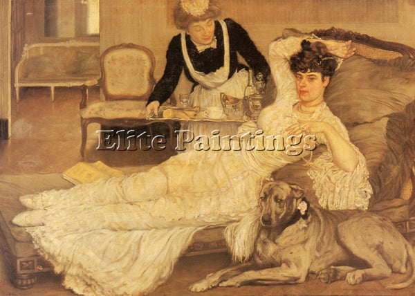 HENRY CARO-DELVAILLE TEA TIME ARTIST PAINTING REPRODUCTION HANDMADE CANVAS REPRO