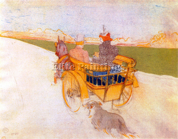 TOULOUSE-LAUTREC CARRIAGE WITH DOG ARTIST PAINTING REPRODUCTION HANDMADE OIL ART