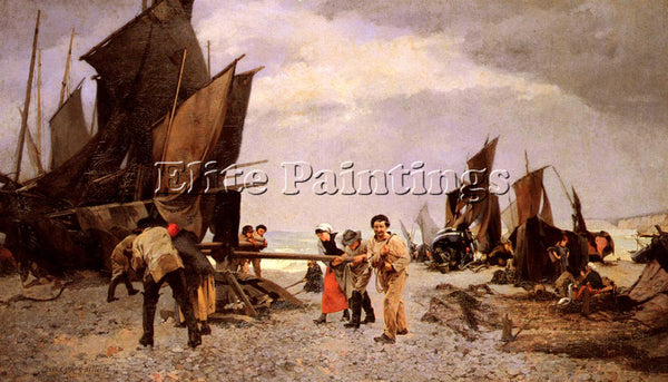 FRENCH CARRIER BELLEUSE LOUIS ROBERT AU CABESTAN ARTIST PAINTING HANDMADE CANVAS
