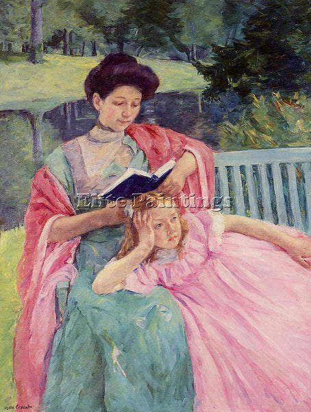 MARY CASSATT AUGUSTE READING TO HER DAUGHTER ARTIST PAINTING HANDMADE OIL CANVAS