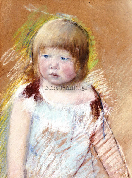 MARY CASSATT CHILD WITH BANGS IN A BLUE DRESS ARTIST PAINTING REPRODUCTION OIL