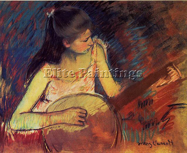 MARY CASSATT GIRL WITH A BANJO ARTIST PAINTING REPRODUCTION HANDMADE OIL CANVAS