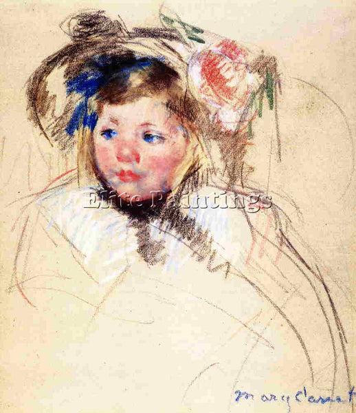 MARY CASSATT HEAD OF SARA IN A BONNET LOOKING LEFT ARTIST PAINTING REPRODUCTION