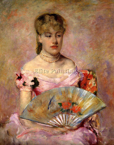 MARY CASSATT LADY WITH A FAN AKA PORTRAIT OF ANNE CHARLOTTE GAILLARD OIL CANVAS