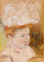 MARY CASSATT LEONTINE IN A PINK FLUFFY HAT ARTIST PAINTING REPRODUCTION HANDMADE