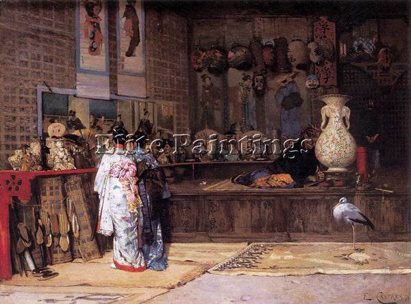 FRENCH CASTRES EDOUARD AT THE JAPANESE MARKET ARTIST PAINTING REPRODUCTION OIL