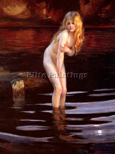 FRENCH CHABAS PAUL EMILE LA BAIGNEUSE ARTIST PAINTING REPRODUCTION HANDMADE OIL