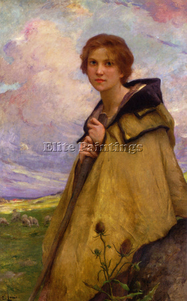 CHARLES AMABLE LENOIR LA BERGERE LARGE ARTIST PAINTING REPRODUCTION HANDMADE OIL