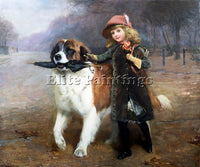 BRITISH CHARLES BURTON BARBER OFF TO SCHOOL ARTIST PAINTING HANDMADE OIL CANVAS