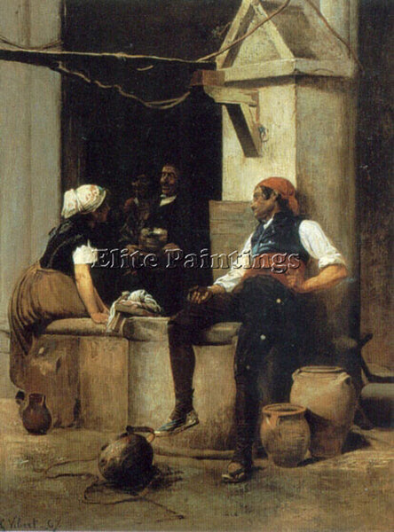 JEHAN GEORGES VIBERT CHATTING BY THE FOUNTAIN ARTIST PAINTING REPRODUCTION OIL