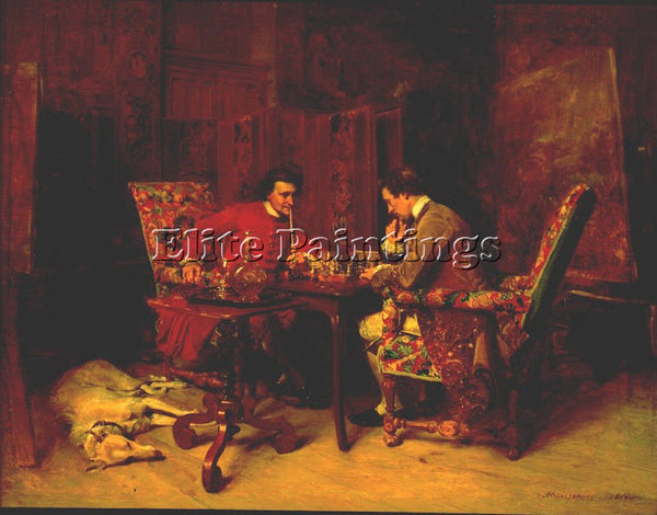 JEAN-LOUIS ERNEST MEISSONIER CHESS PLAYERS ARTIST PAINTING REPRODUCTION HANDMADE